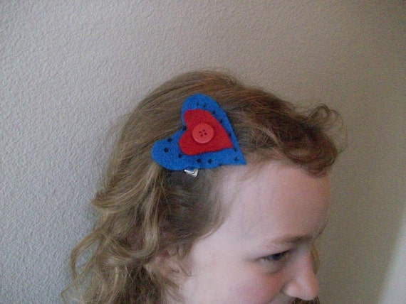 1 Cute Blue Pok-a-dot and Red Heart Hair Clip