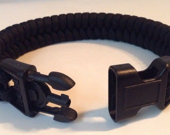 SALE! Police Black Tactical Fishtail Weave Paracord Survival Bracelet with Handcuff Key Buckle (See description for size suggestion)