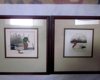 TWO DUCK ETCHINGS by L duBose Vintage limited edition framed