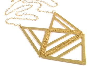 Gold tribal necklace - long geometric necklace - Gold geometric necklace - Architecture jewelry - gold  Statement necklace
