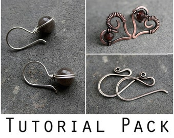 Tutorial Pack: Elegant ear wires, heart-shaped earstuds, simple wire-wrapped earrings