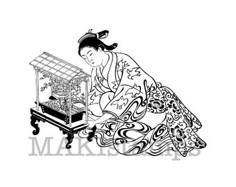 Japanese rubber stamp / Geisha with bird cage / Unmounted rubber stamp (130211)