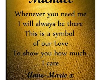 Personalised Wallet Insert Card - Romantic Mini Poem Gift - Symbol of Love