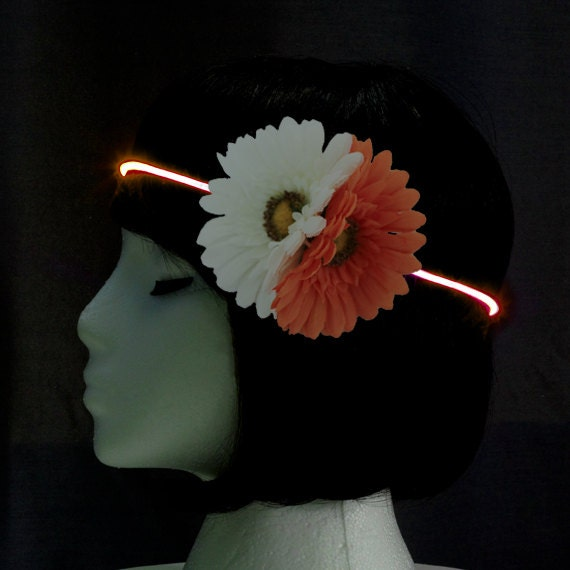 Light up festival headband flower headband orange white for Light up flower lamp