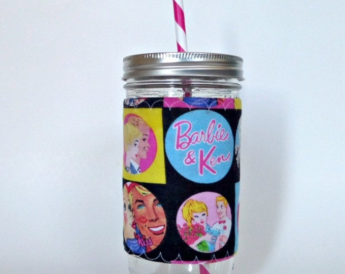 Retro Ken and Barbie Mason Jar Cup 24 oz Insulated Cozy BPA Free Swirl Straw - Travel Mug Great Gift