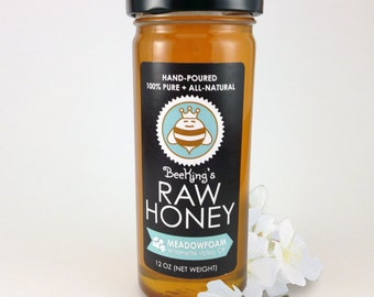 Raw MEADOWFOAM Honey - Hand-Poured, 100% Pure & All-Natural (12 oz)
