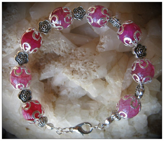 Beautiful Handmade Silver Bracelet with Pink Dream Dragon Fire Vein Agate by IreneDesign2011