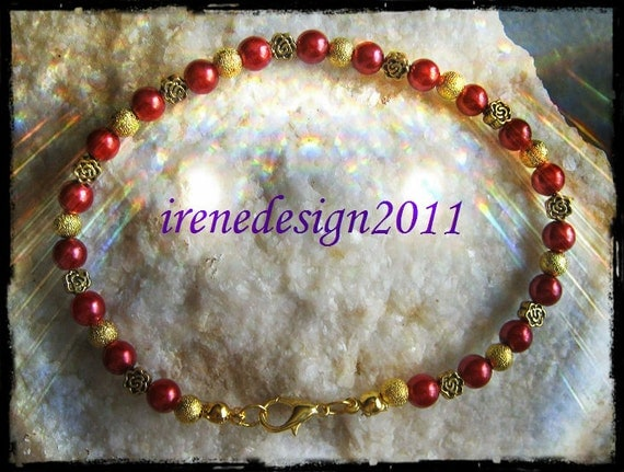 Beautiful Handmade Gold Bracelet with Red Pearls & Roses by IreneDesign2011