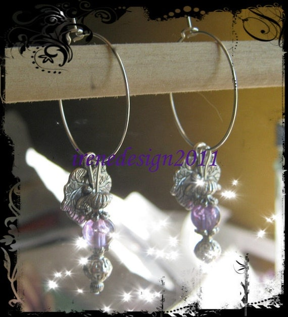Handmade Silver Earrings with Crackled Amethyst & Dragonfly by IreneDesign2011