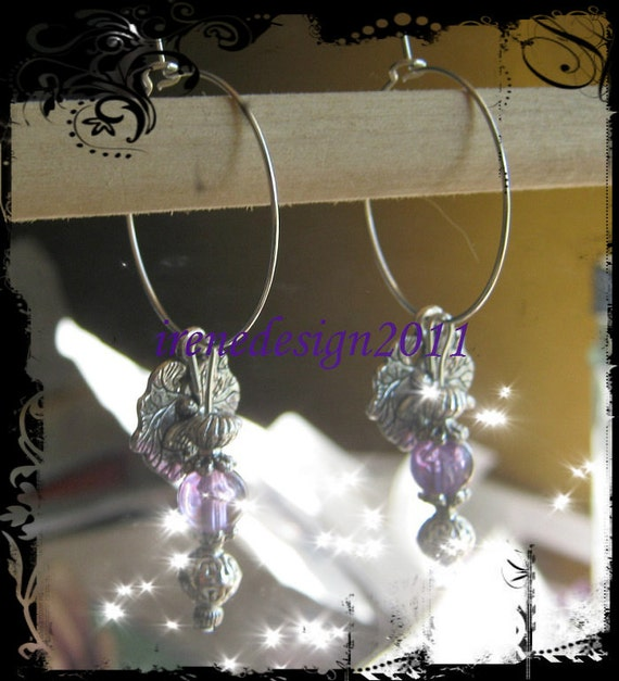 Handmade Silver Hoop Earrings with Crackled Amethyst & Dragonfly by IreneDesign2011