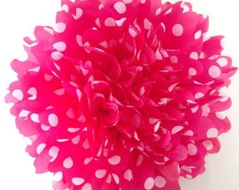 18 inch large Pink Polka Dot pom pom,party poms,birthday pompoms,birthday,baby shower,hanging poms,nursery pom pom,pompoms,party decorations
