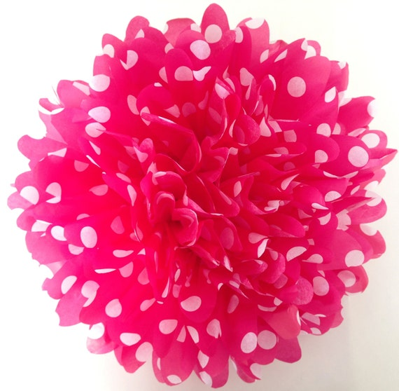 18 inch large pink polka dot pom pom party poms birthday for Pink polka dot decorations