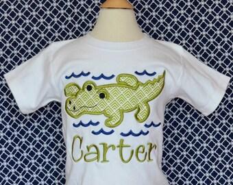 Personalized Alligator Gator Swamp Applique Shirt or Onesie Boy or Girl