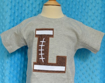 Personalized Football Initial Applique Shirt or Onesie