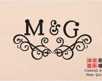 Monogram, Custom Wedding Stamp. Personalized Wedding Stamp, RSVP, Love is Sweet, Gift for Couple, Housewarming Gift Mounted Rubber Stamp M05
