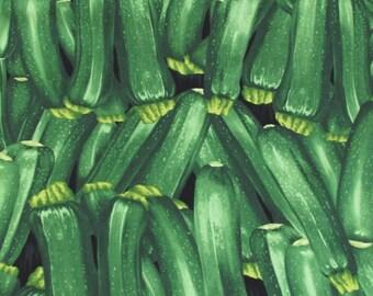 Per yard, realistic zucchini fabric