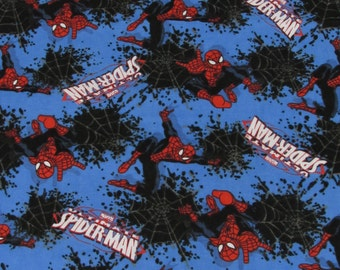 Marvel Spiderman Fabric Splatter Web Toss FLANNEL Fabric From Springs Creative