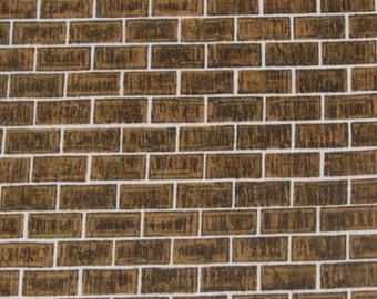 Per yard, Realistic  Brown Brick Fabric