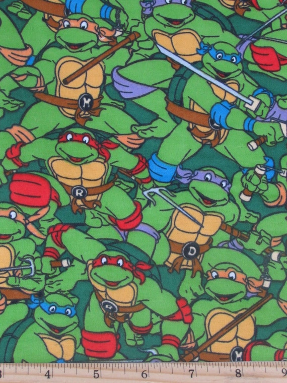 Per Yard Flannel Ninja Turtles Friends To The Finish Fabric