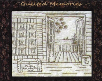 Quilted Memories - Pine Trees Quilt - Redwork Hand Embroidery Pattern by Beth Ritter - Instant Digital Download