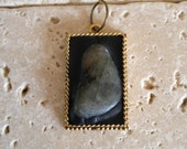 Rustic Labradorite Stone Necklace For The Cure & Cancer Awareness - Proceeds to Charity - natural - rustic jewelry - antique gold - pendant