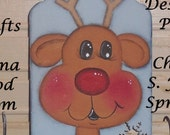 Original Handpainted Whimsical Wooden Brown Reindeer Christmas Ornament OFG FAAP Gift Tag DecoArt Acrylics Gift Personalized