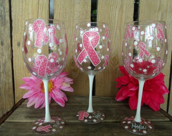 Breast Cancer Hand painted wine glasses Set of 4 Breast cancer awareness wine glasses,