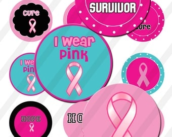INSTANT DOWNLOAD  Brest cancer pink  4x6 Bottle Cap Images Digital Collage Sheet for bottlecaps