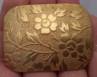 Vintage Art Nouveau Deco Russian Gold Plate Floral Stamping Finding