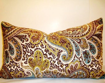 "Decorative Designer Premier Prints Paisley Chocolate Fabric Pattern on Both Sides Lumbar Pillow Cover 12"" x 20"" Contemporary Sofa cushion."