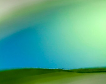Green and blue abstract fine art photographic print, modern, macro.