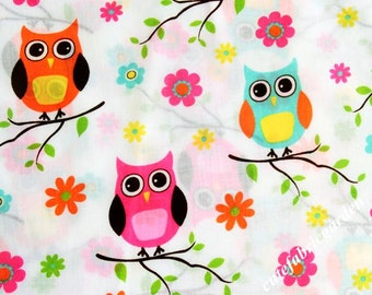 Cotton Fabric - 1 Meter Animal Cartoon - Cartoon Character - Animal Fabric - Owl Print - The Owl Fabric - White (W140cm)
