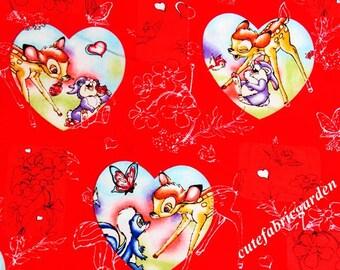 Cotton Fabric - 1 Meter Animal Cartoon - Animal Fabric - Bambi Fabric - Butterfly  - Red Fabric