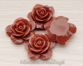 CBC189-CH // Chocolate Colored Rose Flower Flat Back Cabochon, 2 Pc