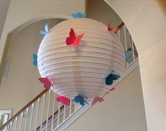 "12"" Bubblicious, paper lantern, hanging ceiling decor, nursery lantern, butterfly party, butterfly lantern, room decor, butterfly birthday"