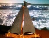 Driftwood Tiny Blue Sailboat handmade from Reclaimed Wood