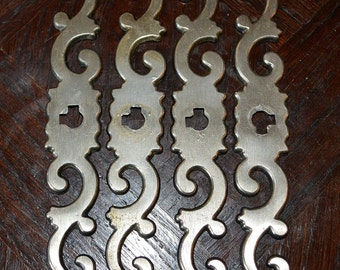 Antique French Silver Keyhole Escutcheon Hardware Swirl Design Furniture Repurpose