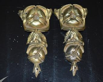 Antique Pair French Bronze Ormolu Cabbage Rose Pediments Onlay Hardware Ornate Decoration