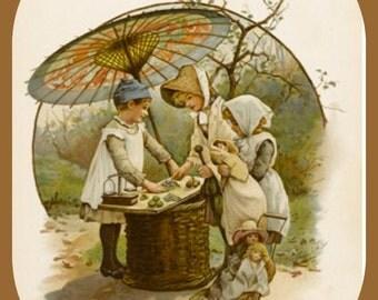 """Harriette Bennett, 1800s, Children Playing Shop. 8x10"""" Cotton Canvas Print"""