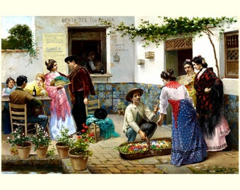 """8x10"""" Cotton Canvas Print, Andalusians at Country Inn, Southern Spain"""