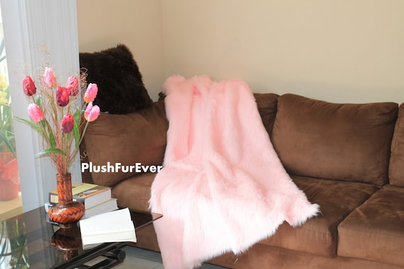 60 x 72 light pink luxury shaggy fur throws. Black Bedroom Furniture Sets. Home Design Ideas