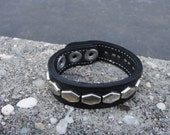 "stitched Black Latigo Leather Wristband 3/4"" ( 19 mm ) wide band With Chrome/Silver Hex hexagon Studs and Stainless Steel snap closure"