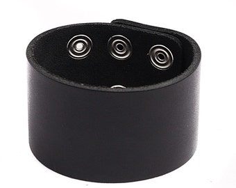 "Bracelet 1-3/4"" Wide Plain Genuine Leather Wristband 45-mm Cuff Made in U.S.A. NYC Handmade Bangle"
