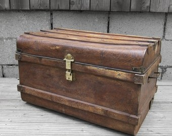 1920s Vintage Metal Tin Old Antique Steamer Railway Trunk Coffee Table Storage Chest Brown Blue