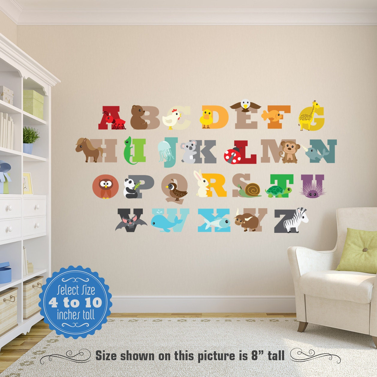 Animals alphabet abcs wall decals learning set printed cutout for Alphabet wall mural