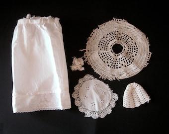 Linens Lot, Damaged Linens, Cutter Linens, Vintage Linens, Dolls Clothes, White Lines, Cutter Lot, Craft Supplies, Linens for Repurposing