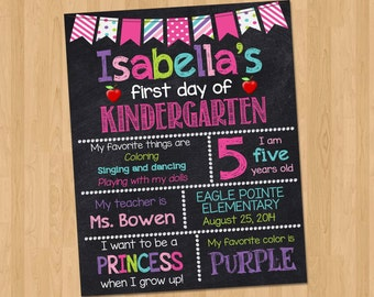 First Day of Kindergarten Sign - First Day of School Chalkboard Sign Printable Photo Prop - Personalized Back to School Pink - ANY GRADE