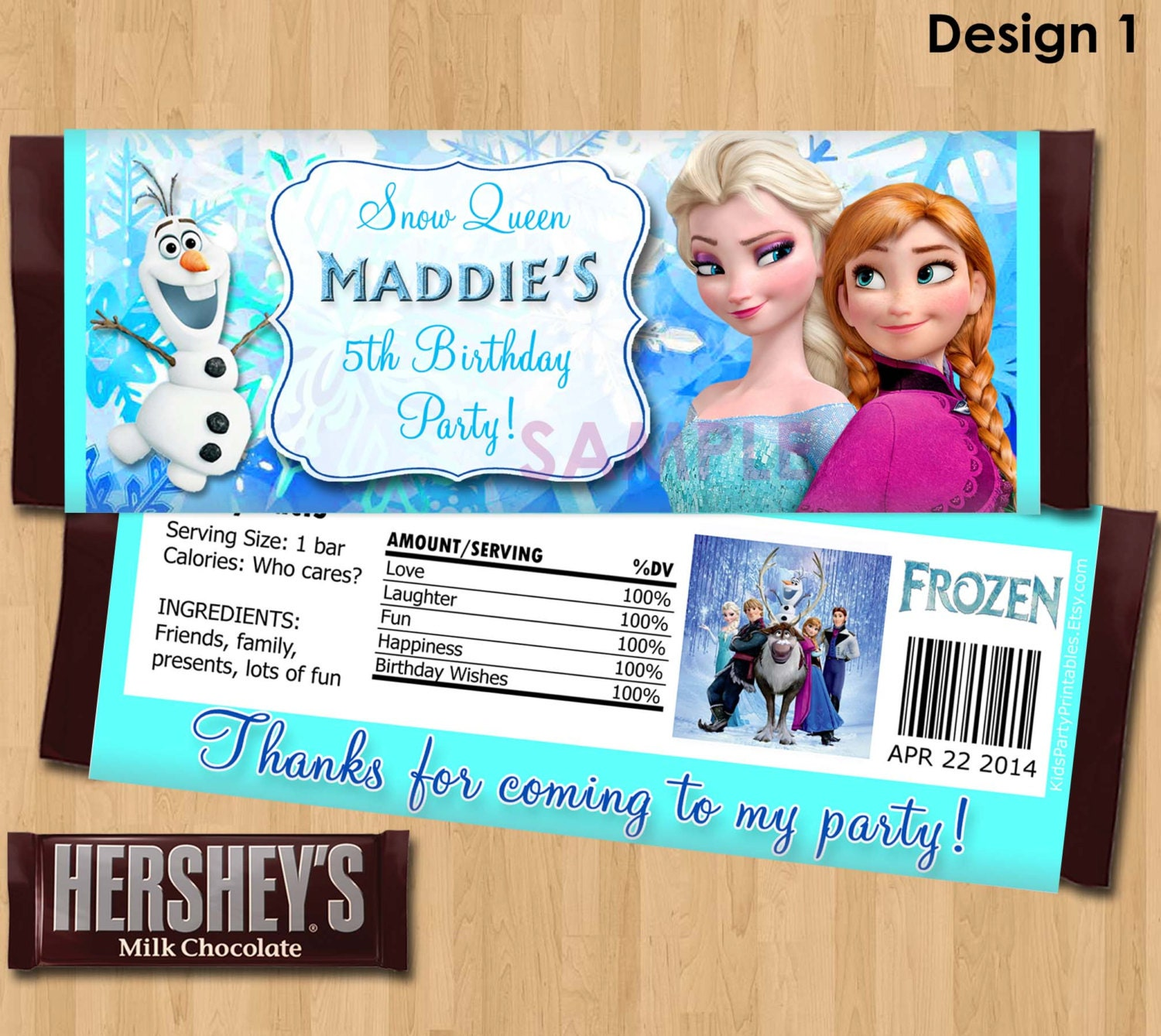 Disney Frozen Candy Bar Wrappers Frozen Candy Wrapper