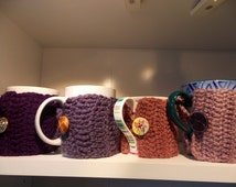 Cupsleeves gift for coworkers crochet fits to any cup and mug size choose from 16 colours ideal gift for colleagues handmade with love