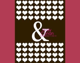 Ampersand and Heart Guestbook Print, Alternative Wedding Guest Book, Guestbook Poster, Wedding Guest Book, 64 Guest Signature Print